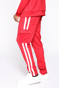 Post Cargo Track Pants - Red/Combo Angle 3