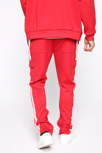 Post Cargo Track Pants - Red/Combo Angle 5