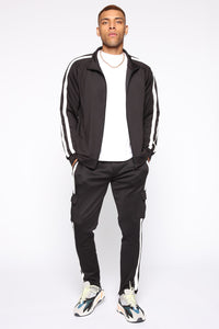 Post Cargo Track Pants - Black/White Angle 2