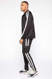Post Cargo Track Pants - Black/White Angle 4