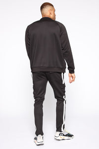 Post Cargo Track Pants - Black/White Angle 6