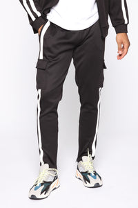 Post Cargo Track Pants - Black/White Angle 1