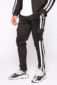 Post Cargo Track Pants - Black/White Angle 3