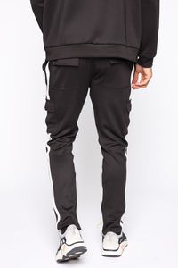 Post Cargo Track Pants - Black/White Angle 5