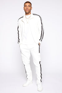 Post Track Jacket - White/Black Angle 2