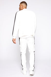 Post Track Jacket - White/Black Angle 5