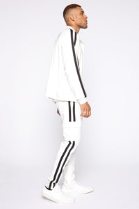 Post Track Jacket - White/Black Angle 4