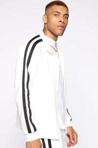 Post Track Jacket - White/Black Angle 3