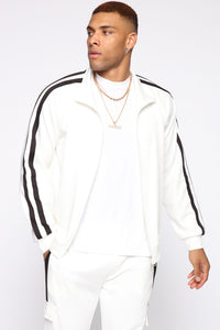Post Track Jacket - White/Black Angle 1