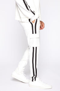 Post Cargo Track Pants - White/Combo Angle 1