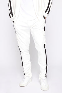 Post Cargo Track Pants - White/Combo Angle 2