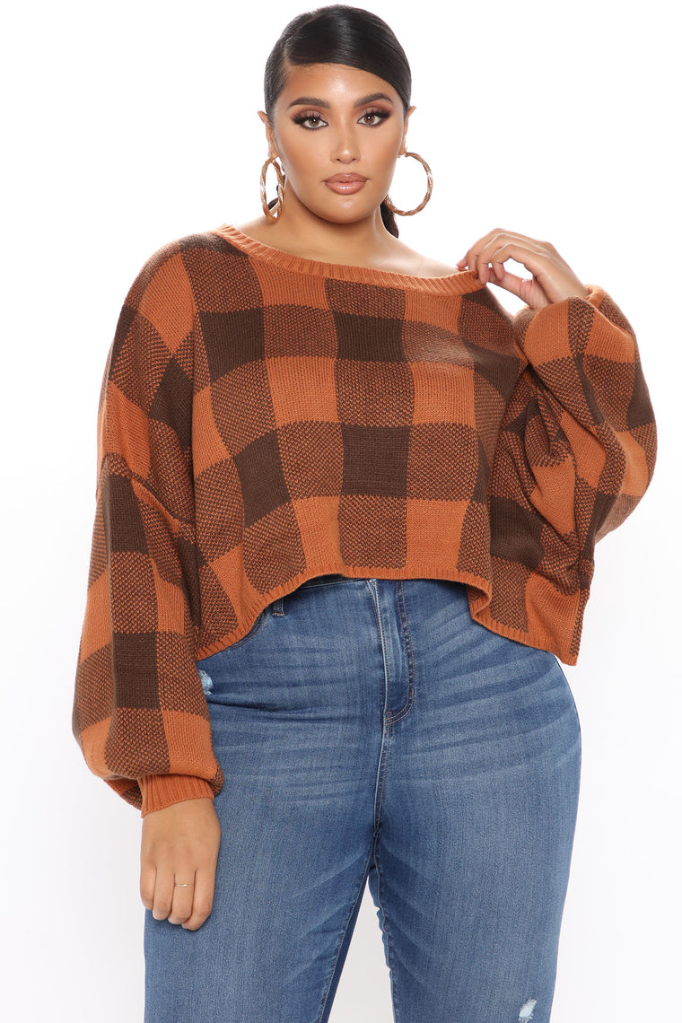 London Cropped Sweater - Rust