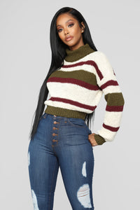 Cozy Stripe Turtleneck Sweater - Olive/Combo