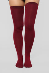 Quite The Light Weight Socks   Burgundy by Fashion Nova