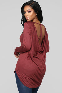 Fly Away With Me Top - Burgundy