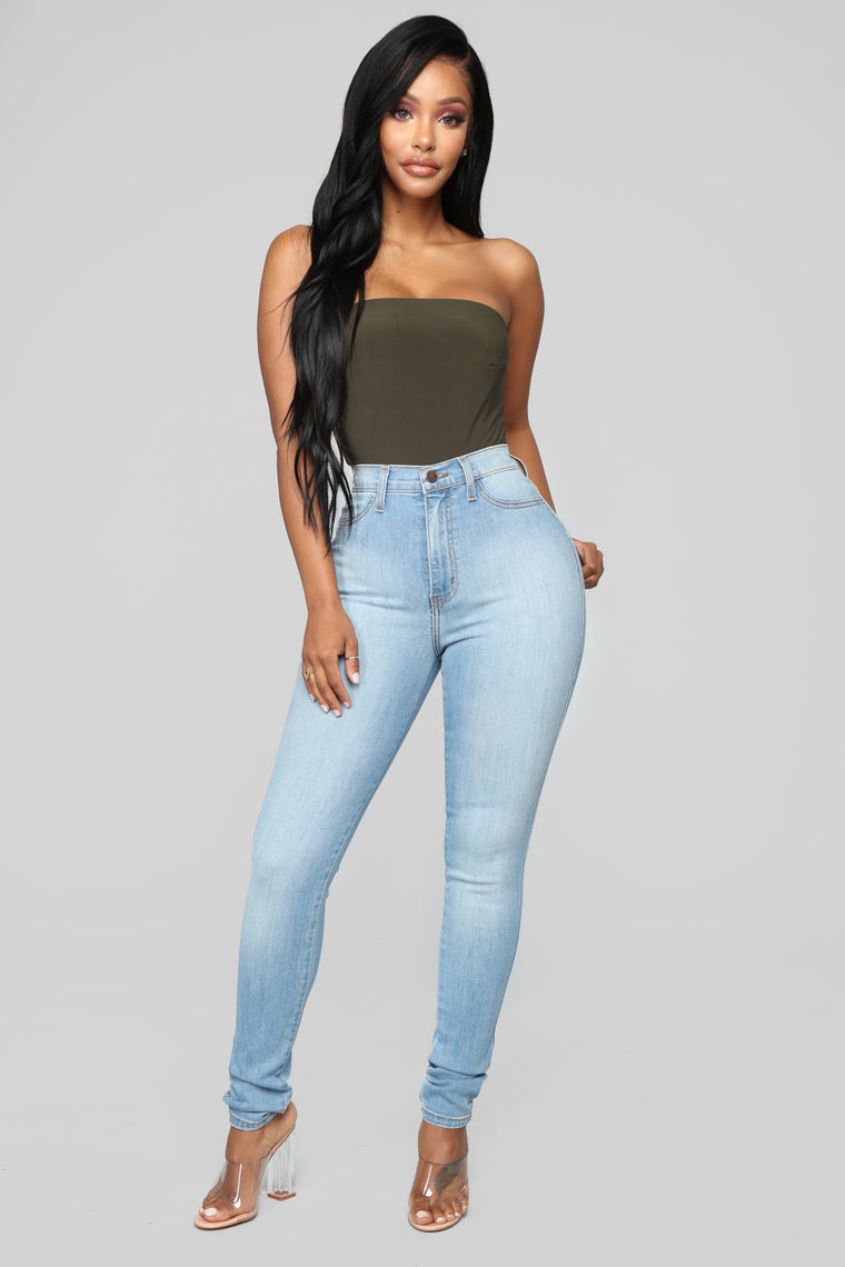 Classic High Waist Skinny Jeans - Light Wash