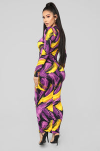 Piece Of Work Midi Dress - Purple/Multi
