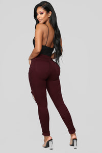 Glistening Jeans - Burgundy Angle 5