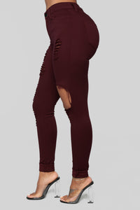 Glistening Jeans - Burgundy Angle 4