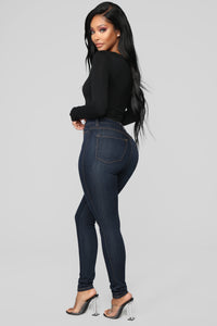 Classic High Waist Skinny Jeans - Dark Denim Angle 3