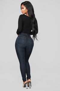Classic High Waist Skinny Jeans - Dark Denim Angle 4