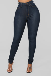 Classic High Waist Skinny Jeans - Dark Denim Angle 7