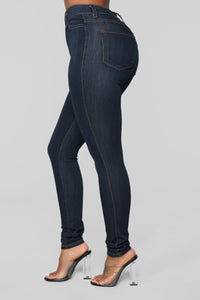 Classic High Waist Skinny Jeans - Dark Denim Angle 9