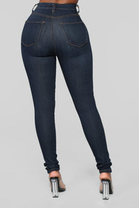 Classic High Waist Skinny Jeans - Dark Denim Angle 10