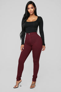 Super High Waist Denim Skinnies - Burgundy Angle 2