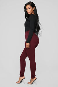 Super High Waist Denim Skinnies - Burgundy Angle 3