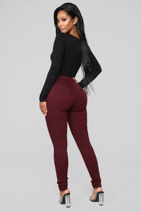Super High Waist Denim Skinnies - Burgundy Angle 5