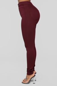Super High Waist Denim Skinnies - Burgundy Angle 4