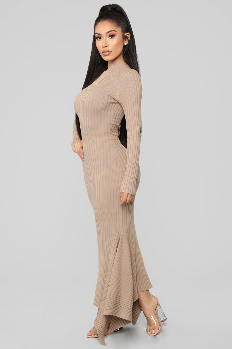 Left My Heart In Rome Mermaid Dress - Taupe