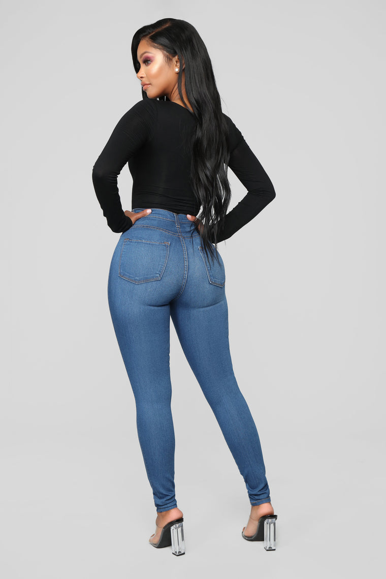 Classic High Waist Skinny Jeans - Medium Blue
