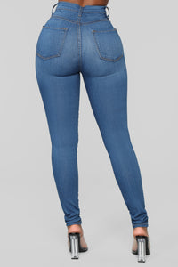 Classic High Waist Skinny Jeans - Medium Blue Wash Angle 15