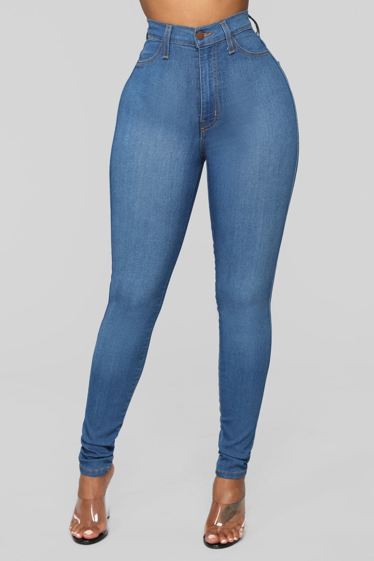 Classic High Waist Skinny Jeans Medium Blue Wash