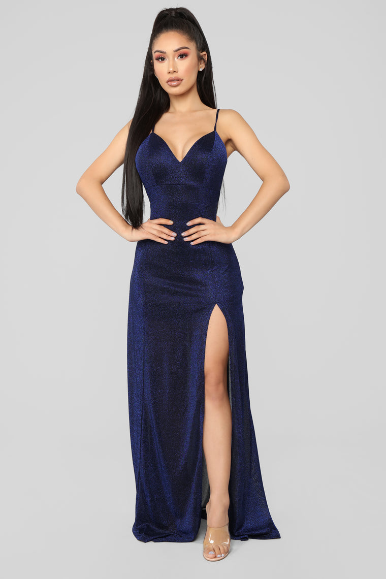 Champagne For Two Sparkle Dress - Navy