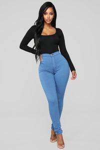 Super High Waist Denim Skinnies - Medium Blue
