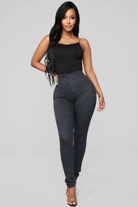 Super High Waist Denim Skinnies - Charcoal