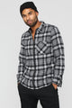 Zack Long Sleeve Zip Flannel Shirt - Grey/White