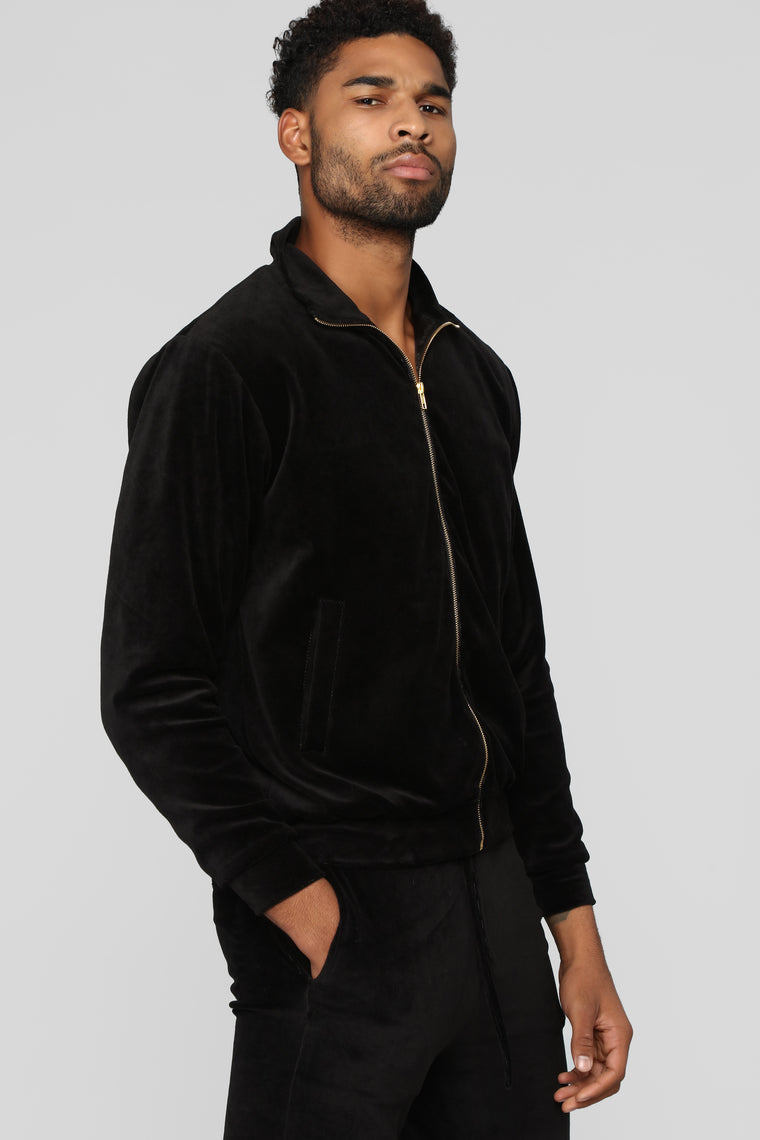 Hue Velour Track Jacket - Black