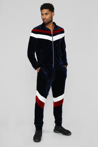 Randy Velour Track Pants - Blue/Red Angle 2