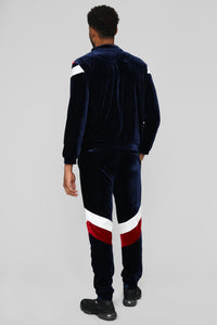 Randy Velour Track Pants - Blue/Red Angle 6
