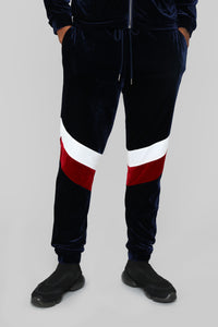 Randy Velour Track Pants - Blue/Red Angle 1