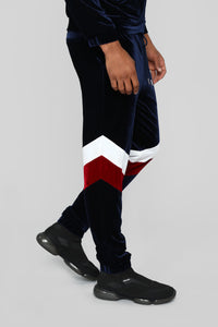 Randy Velour Track Pants - Blue/Red Angle 3