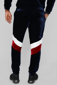 Randy Velour Track Pants - Blue/Red Angle 5