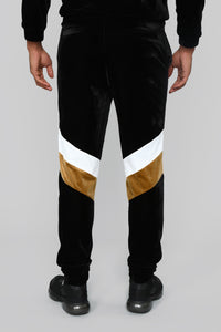 Randy Velour Track Pants - Black/Gold