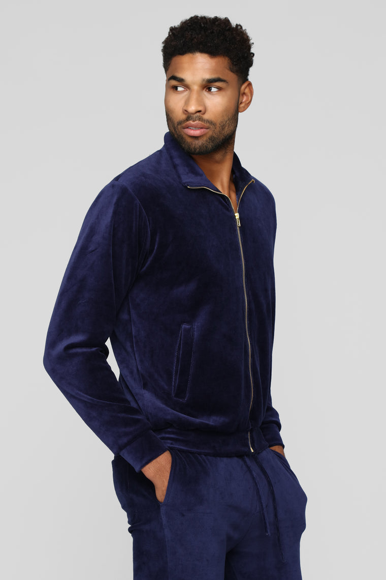 Hue Velour Track Jacket - Navy