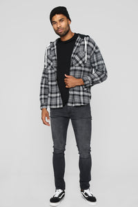 The Kurt Long Sleeve Hooded Flannel Top - Grey/White