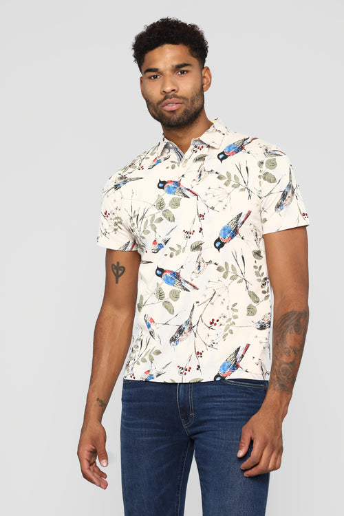 Birds In The Leaves Short Sleeve Polo - Tan